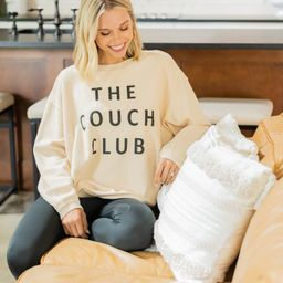 The Couch Club Natural White Graphic Corded Sweatshirt | The Mint Julep Boutique