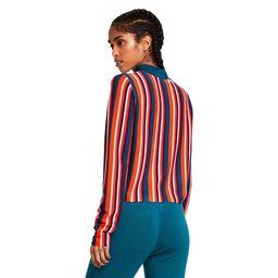 Women's Striped Mock Turtleneck Pullover Sweater - Victor Glemaud x Target Orange/Teal Blue | Target