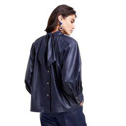 Women's  Long Sleeve Faux Leather Tie Back Top - Rachel Comey x Target Navy   Target
