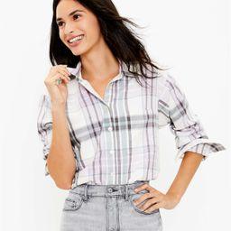 Plaid Flannel Pocket Tunic Shirt   LOFT