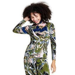 Women's Marble Print Long Sleeve Textured Turtleneck Shirt - Rachel Comey x Target Black | Target
