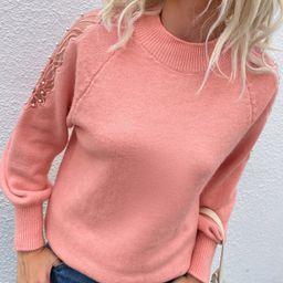 Pearls Contrast Mesh Raglan Sleeve Sweater   SHEIN