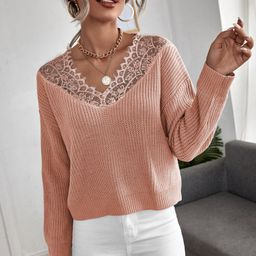 Contrast Lace Ribbed Knit Sweater | SHEIN