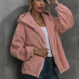 Solid Zip Up Hooded Teddy Jacket | SHEIN