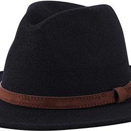 Lanzom Women Wide Brim Warm Wool Fedora Hat Retro Style Belt Panama Hat | Amazon (US)