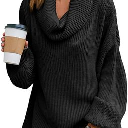 Simplee Women's Oversized Cowl Neck Knit Pullover Sweater Casual Loose Lantern Long Sleeve Jumper... | Amazon (US)