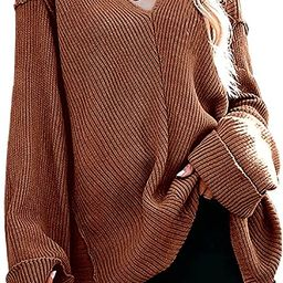 Womens Tunic Sweater V Neck Off Shoulder Oversized Sweaters Loose Knit Long Sleeve Casual Jumper ... | Amazon (US)