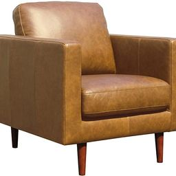 """Amazon Brand – Rivet Revolve Modern Leather Armchair with Tapered Legs, 33""""W, Caramel 