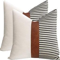 cygnus Set of 2 Farmhouse Decor Stripe Patchwork Linen Throw Pillow Covers,Modern Tan Faux Leathe... | Amazon (US)