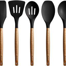 Miusco Non-Stick Silicone Kitchen Utensils Set with Natural Acacia Hard Wood Handle, 5 Piece, Bla... | Amazon (US)