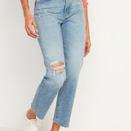 Extra High-Waisted Sky-Hi Straight Button-Fly Ripped Jeans for Women | Old Navy (US)