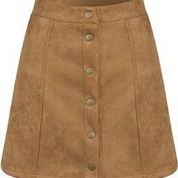 PERSUN Women's Button Front High Waist Faux Suede A-Line Mini Short Skirt 2021 | Amazon (US)