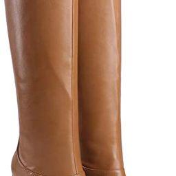 LEHOOR Women Knee High Chunky Heel Boots Matte Leather Square Closed Toe Slip On High Heeled Dres... | Amazon (US)
