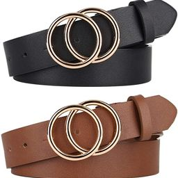 Pack 2 Women Belts for Jeans with Fashion Double O-Ring Buckle and Faux Leather | Amazon (US)
