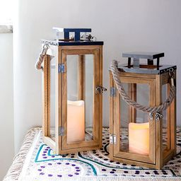 Lights4fun, Inc. Large Wooden Battery Operated LED Flameless Candle Lantern   Amazon (US)