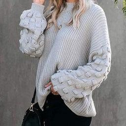 Tutorutor Womens Crew Neck Pom Pom Sleeve Pullover Sweaters Oversized Batwing Sleeve Chunky Knit ... | Amazon (US)