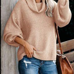 Saodimallsu Womens Oversized Cowl Neck Sweaters Loose Batwing Long Sleeve Slouchy Soft Ribbed Kni... | Amazon (US)
