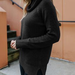 Womens Turtle Neck Pullover Waffle Knit Long Sleeve Sweaters Side Slit Chunky Drop Shoulder Loose... | Amazon (US)