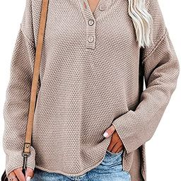 Cisisily Womens V Neck Long Sleeve Sweaters Casual Loose Fitted Solid Color Pullover Knitted Tops | Amazon (US)