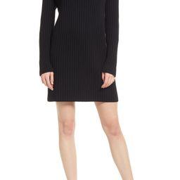 Mock Neck Long Sleeve Cotton Blend Rib Sweater Dress | Nordstrom | Nordstrom