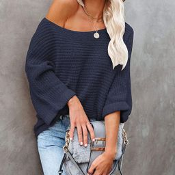 KIRUNDO Women's Off Shoulder Sweaters Batwing 3/4 Sleeves Casual Loose Fit Solid Pullovers Knit J... | Amazon (US)