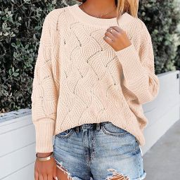 Aoysky Womens Oversized Sweater Batwing Knit Loose Casual Crewneck Pullover Baggy Jumpers | Amazon (US)