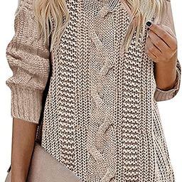 Womens Oversized Crewneck Cable Knit Sweaters Loose Casual Solid Cozy Pullover Sweater Jumper Top... | Amazon (US)