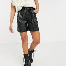 Miss Selfridge faux leather tie waist shorts in black | ASOS | ASOS (Global)