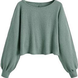 SweatyRocks Women's Casual Solid Ribbed Knit Raglan Long Sleeve Crop Top T Shirt | Amazon (US)