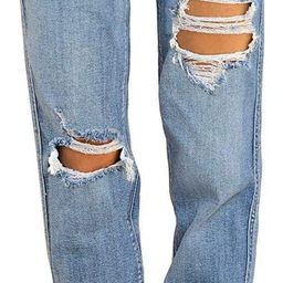 Vetinee Women's High Rise Destroyed Boyfriend Jeans Washed Distressed Ripped Denim Pants | Amazon (US)
