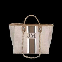 The Lily Canvas Tote Bag Soft Fawn White, Grey and Beige Stripe as per | Lily and Bean