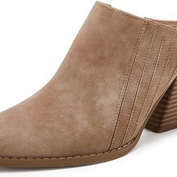 Womens Backless Chunky Mules Shoes Slip On Pointed Toe Stacked Heel Western Boots | Amazon (US)