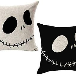 LYNZYM Nightmare Before Christmas Cotton Linen Square Throw Pillow Case Decorative Cushion Cover Pil | Amazon (US)