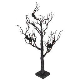 "Northlight 26.5"" Black Glittered B/O LED Tabletop Halloween Tree with Bats - Orange Lights   Target"
