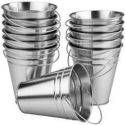 Kicko Large Galvanized Metal Buckets Bulk - 12 Pack - with Handle 5 X 4.5 Inches - Unique Goody B...   Amazon (US)