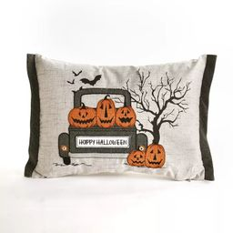 Lakeside LED Lighted Halloween Pillow with Vintage Truck and Pumpkin Motif | Target