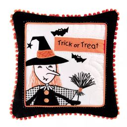 """C&F Home 16"""" x 16"""" Halloween Trick or Treat Witch Quilted Pillow 