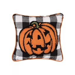 "C&F Home 12"" x 12"" Jack-O-Lantern Pumpkin Black and White Check Tufted Halloween Throw Pillow | Target"