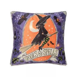 """C&F Home 18"""" x 18"""" Spooks And Spells Witch Light-Up LED Light-Up Halloween Throw Pillow 
