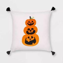 Velvet Applique Pumpkin Square Throw Pillow White/Orange - Hyde & EEK! Boutique™ | Target
