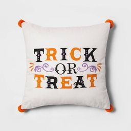 'Trick or Treat' Embroidered Reversible Square Throw Pillow White - Hyde & EEK! Boutique™ | Target