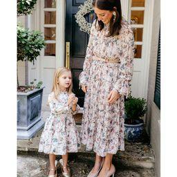 x Nicola Bathie Claire Floral Chiffon Round Neck Long Sleeve Belted Dress | Dillards