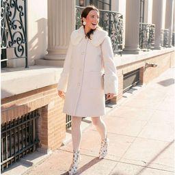 x Nicola Bathie Vivienne Boucle Faux Fur Collar Pearl Button Coat | Dillards
