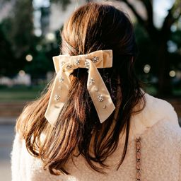 x Nicola Bathie Isabella Velvet Jeweled Bow Clip | Dillards