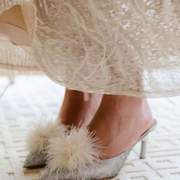 x Nicola Bathie Brittany Feather Detail Metallic Brocade Dress Mules | Dillards