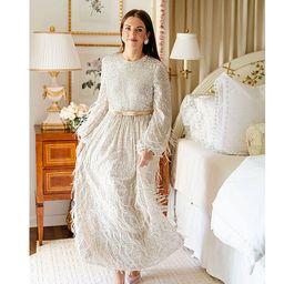 x Nicola Bathie Nicola Sequined Feather Trim Round Neck Long Sleeve Belted Maxi Dress | Dillards