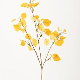 """Artificial Aspen Leaf Spray in Yellow Gold - 40"""" Tall 