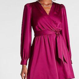 Satin Tie Waist Long Sleeve Mini Dress | Express