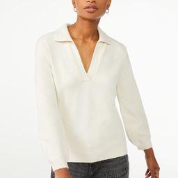 Free Assembly Women's V-Neck Polo Sweater - Walmart.com   Walmart (US)