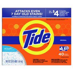 Tide Original Scent, 40 loads Powder Laundry Detergent, 56 Oz - Walmart.com | Walmart (US)